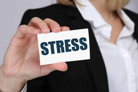 destress: Stress stressed business woman burnout at work concept relaxed Stock Photo