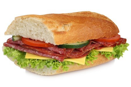 sub sandwich: Sub sandwich baguette with salami ham, cheese, tomatoes and lettuce for breakfast isolated on a white background