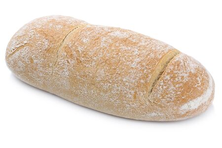 eating pastry: Brown wheat rye bread isolated on a white background bakery