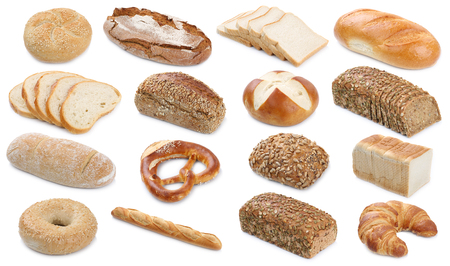Collection of bread breads bagel roll toast pretzel isolated on a white background bakery Stock Photo