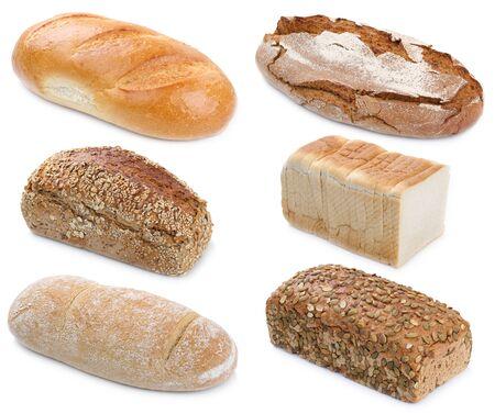 Colección de pan panes granos enteros aislados en un fondo blanco panadería Foto de archivo