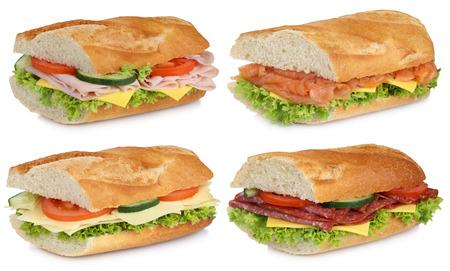 jamon: Colección de barras de pan con jamón salami, queso, tomate y lechuga pescado salmón aislado en un fondo blanco