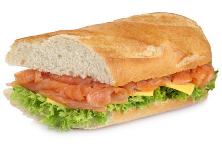 sub sandwich: Sub sandwich baguette with salmon fish, cheese, tomatoes and lettuce for breakfast isolated on a white background Stock Photo