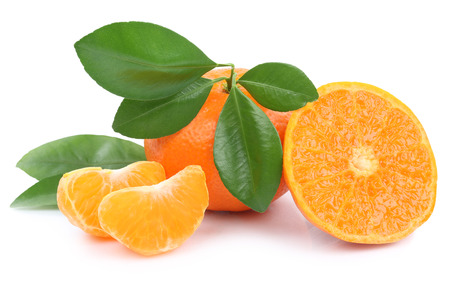 mandarin oranges: Mandarin orange mandarins fruit fruits tangerine tangerines isolated on a white background Stock Photo