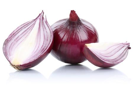 cebolla: Red cebolla cebollas rebanada rebanadas vehículo aislado en un fondo blanco