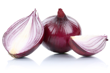 Red onion onions slice slices vegetable isolated on a white background