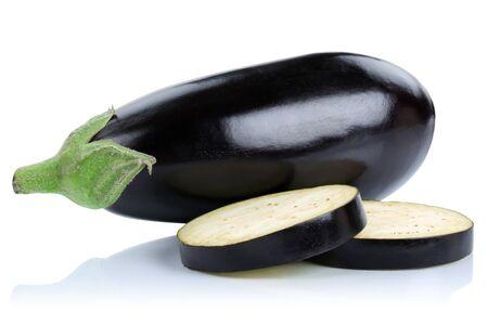 Eggplant aubergine slice slices vegetable isolated on a white background