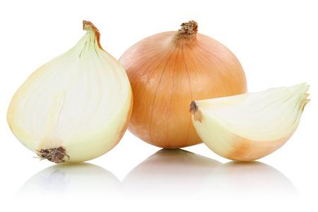 玉ねぎのスライス スライス野菜の白い背景に分離