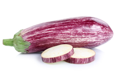 eggplant: Graffiti eggplant aubergine slices vegetable isolated on a white background