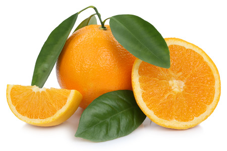 Orange fruit oranges slices with leaves isolated on a white background Banco de Imagens