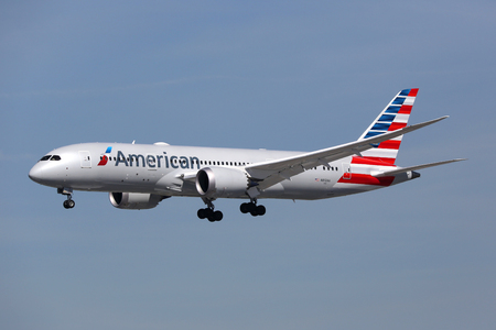Los Angeles, USA - February 19, 2016: An American Airlines Boeing 787-8 Dreamliner with the registration N812AA approaches Los Angeles International Airport (LAX) in the USA. The Boeing 787 Dreamliner is the world's first major airliner to use composite m
