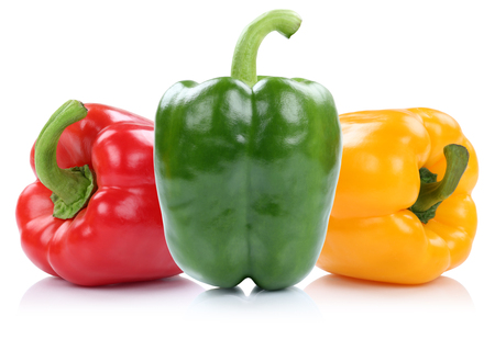 yellow green: Red yellow green organic bell pepper peppers paprika paprikas vegetable isolated on a white background