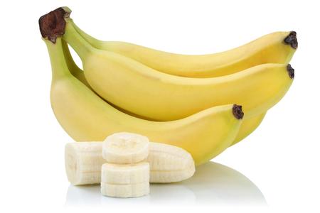 banane: Bananes tranches de bananes fruits isolés sur un fond blanc