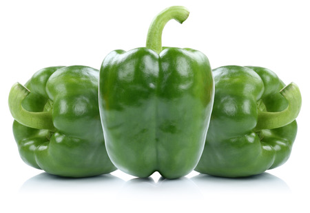 bellpepper: Green bell pepper peppers paprika paprikas vegetable isolated on a white background