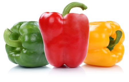 bell peppers: Red yellow green bell pepper peppers paprika paprikas vegetable isolated on a white background