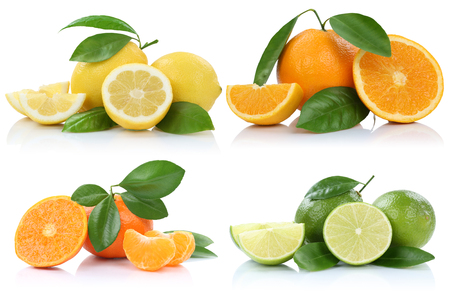Collection of oranges mandarins lemons fruits isolated on a white background Imagens