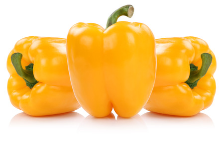 Yellow bell pepper peppers paprika paprikas vegetable isolated on a white background