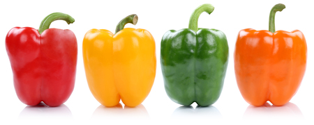 Collection of bell pepper peppers paprika paprikas in a row side view vegetable isolated on a white background