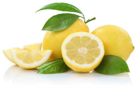 Lemon lemons fruits isolated on a white background Stock Photo