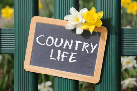 country living: Country life living countryside garden with flowers flower spring sign board on fence