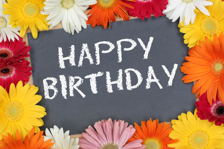Happy Birthday card garden with colorful flowers flower board sign