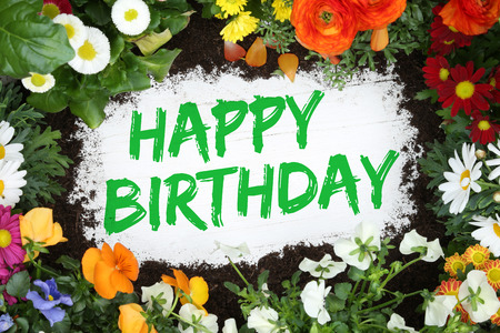 Happy Birthday card with flowers flower on wooden board Foto de archivo