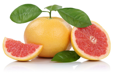 grapefruits: Grapefruit fruit grapefruits slice slices with leaves isolated on white background