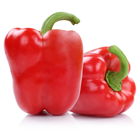 Bell pepper peppers paprika paprikas red isolated on a white background