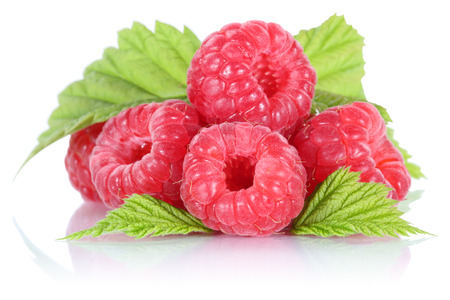 Raspberry raspberries berry berries fruit with leaves isolated on a white background