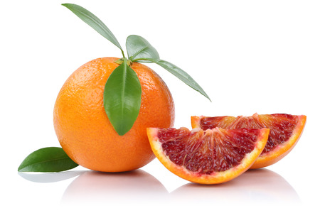 Blood orange fruit slice slices with leaves isolated on a white background Stock Photo