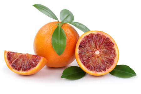 Blood orange fruit oranges slice slices isolated on a white background Stock Photo