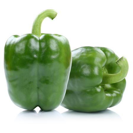 white pepper: Bell pepper peppers paprika paprikas green isolated on a white background