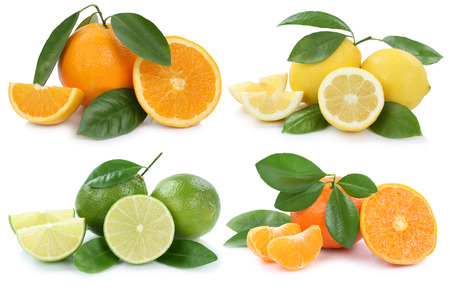 Collection of oranges lemons fruits isolated on a white background Stock fotó
