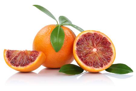 Blood orange fruit oranges slice slices with leaves isolated on a white background