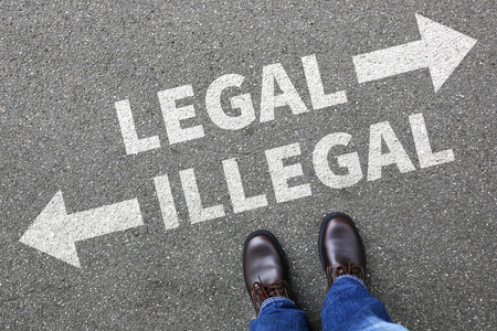 Legal illegal businessman business man concept decision prohibition allowed prohibited decide criminal law order