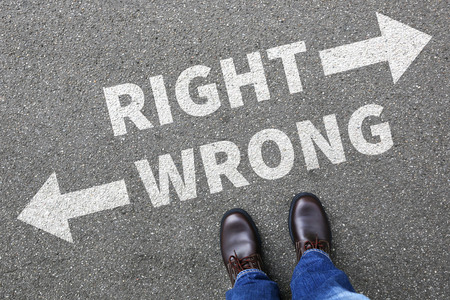 decide deciding: Right wrong business man concept businessman goals success solution decision decide choice