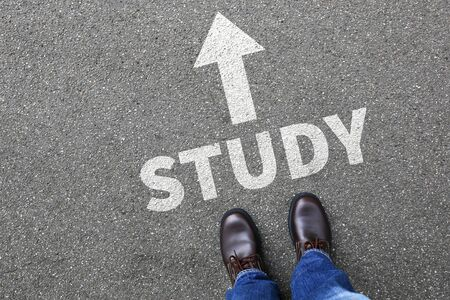 university choice: Study student studying studies education students university decision concept Stock Photo
