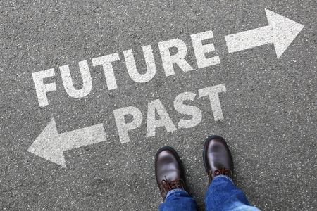 business life: Future past business man concept businessman goals success life decision decide choice change Stock Photo