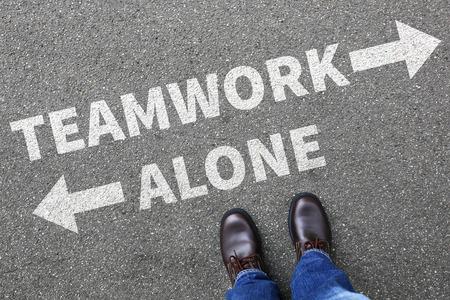 lonelyness: Teamwork team working together alone businessman business man concept success