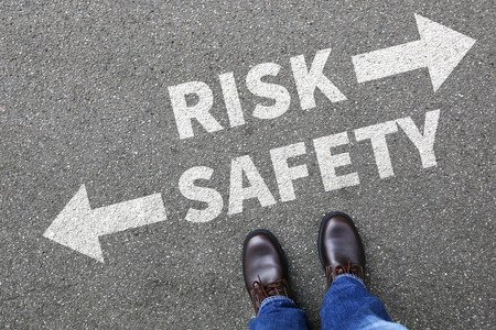 risky innovation: Risk and safety management analysis in company business man concept businessman finances Stock Photo