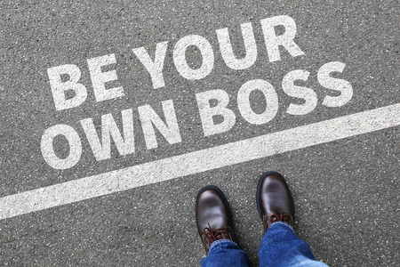 Self-employed self employed employment be your own boss businessman business man concept Stok Fotoğraf