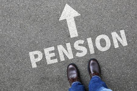 retiring: Pension retirement retire businessman business man concept Stock Photo