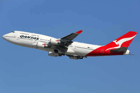 Los Angeles, USA - February 20, 2016: A Qantas Boeing 747-400 with the registration VH-OEE takes off from Los Angeles International Airport (LAX) in the USA. Qantas is the flag carrier airline of Australia based in Sydney.
