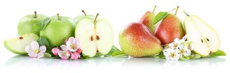 pera: las manzanas y peras manzanas peras frutas tramo aislado en un fondo blanco