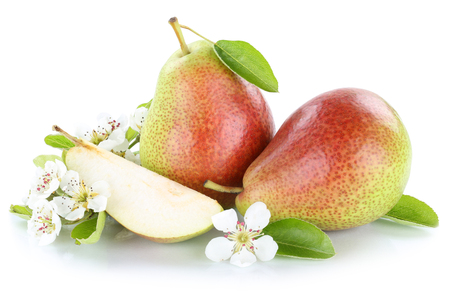 Pears pear fresh fruit fruits isolated on a white background