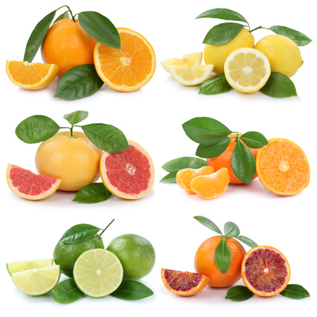 Het verzamelen van sinaasappelen, citroenen grapefruit vruchten geïsoleerd op een witte achtergrond Stockfoto - 56741842