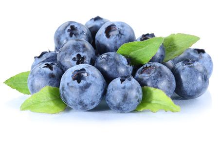Blueberry bosbessen verse bessen bessen fruit geïsoleerd op een witte achtergrond Stockfoto
