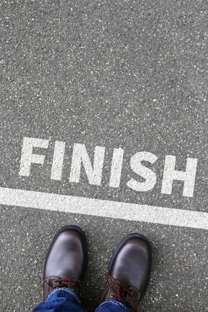 Finish line winning success running race business concept career goals motivation vision