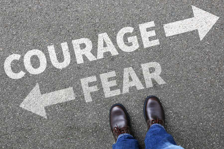 risky innovation: Courage and fear risk safety future strength strong business man concept businessman finances