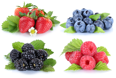 blueberries: Collage berries strawberries blueberries berry fruits isolated on a white background